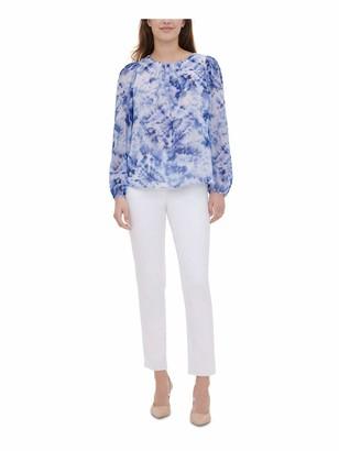 Calvin Klein Womens Light Blue Tie Dye Long Sleeve Jewel Neck Evening Top UK Size:8