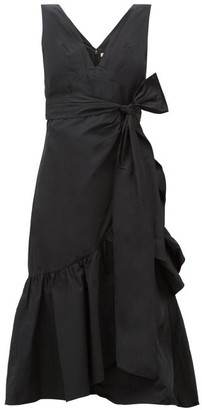 Rebecca Taylor Ruffled Taffeta Wrap Dress - Black