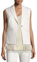 Foundrae Tassel-Trim Crepe Vest, Cream