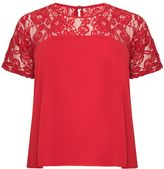 Quiz Curve Red Chiffon Lace Bow Back Top