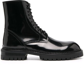 Ann Demeulemeester Lace-Up Leather Boots