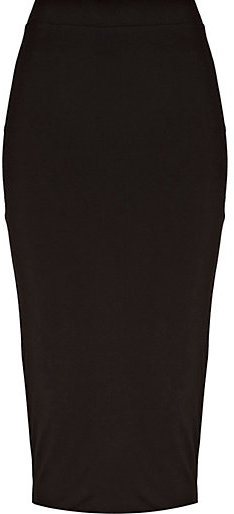 River Island Womens Black double layered pencil skirt
