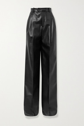 Peter Do Pleated Faux Leather Straight-leg Pants - Black