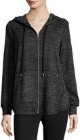Neiman Marcus Zip-Front Relaxed Hoodie Sweater, Black/Gray