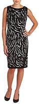 Allison Daley Petite Sleeveless Faux-Wrap Printed Dress