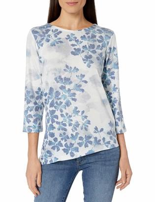 Alfred Dunner Women's Floral Print Assymetrical Hem Shirt