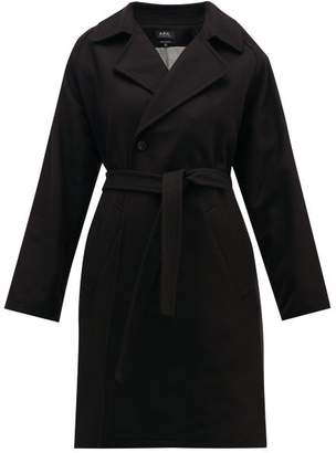 A.P.C. Bakerstreet Belted Wool Blend Trench Coat - Womens - Black