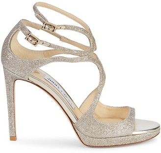 Jimmy Choo Lance Glitter Ankle-Strap Sandals