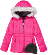 London Fog 2-Pc. Heavyweight Puffer Jacket & Fleece Hat Set, Girls (7-16)
