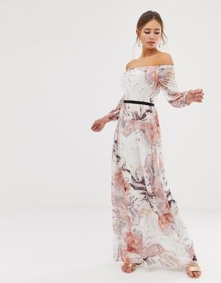 Little Mistress bardot long sleeve maxi dress in floral print-Multi