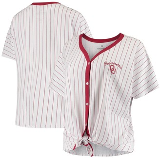 Colosseum Women's White Oklahoma Sooners Playground Striped Oversized Button-Up T-Shirt