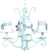The Well Appointed House Blue Harp Four Arm Chandelier with White Shades