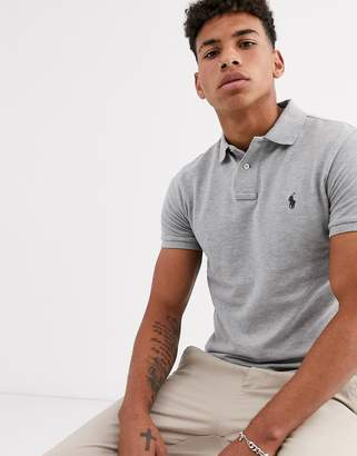 Polo Ralph Lauren player logo pique polo slim fit in grey marl