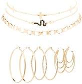 Charlotte Russe Embellished Hoop Earrings & Choker Necklaces - 6 Pack