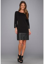 Laundry by Shelli Segal Three-Quarter Sleeve Ponte w/ Faux Leather (Black) - Apparel