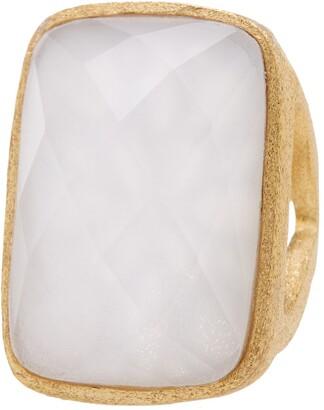 Rivka Friedman 18K Gold Clad Opal Crystal Doublet Bold Rectangle Open Shank Ring