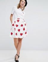Love Moschino All Over Heart Print Skirt