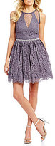 Jodi Kristopher Lace Illusion Inset Fit-And-Flare Dress