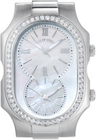 Philip Stein Teslar Large Signature Dual Time Zone Watch Head w/ Diamonds, Silver/Mother-of-Pearl