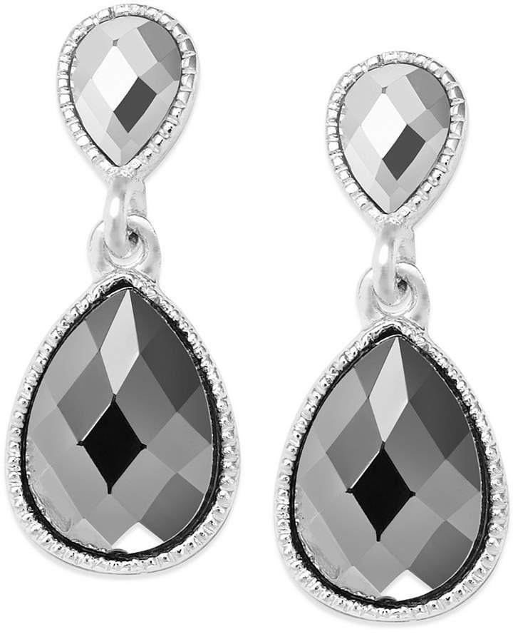 INC International Concepts Earrings, Silver-Tone Double Teardrop Earrings