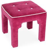 Kim Salmela Hicks Tufted Stool - Ivory/Berry Velvet berry pink/white