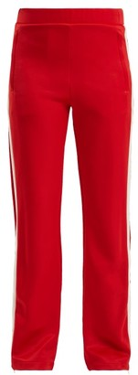 Moncler Side-stripe Wide-leg Jersey Track Pants - Womens - Red