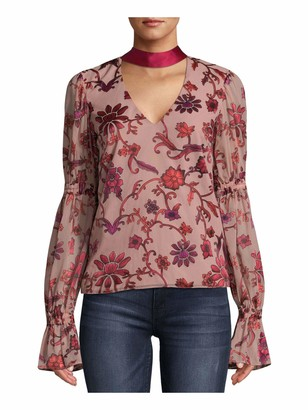 Nicole Miller Womens Red Floral Bell Sleeve Halter Evening Top Size: S