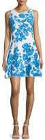 Milly Sleeveless Floral-Print Dress, Ivory/Aqua