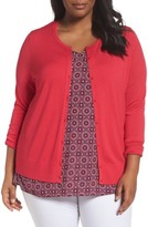 Sejour Plus Size Women's Button Front Cardigan