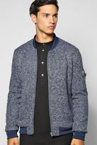 Boohoo Smart Flecked Ma1 Bomber With Sleeve Zip