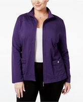 Karen Scott Plus Size Quilted-Trim Lounge Jacket, Only at Macy's