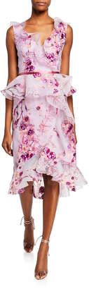 Marchesa Sleeveless V-Neck Floral Organza Peplum Dress w/ Ruffle Trim