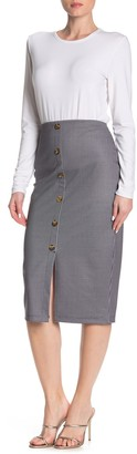 Sanctuary Button Accent Ponte Pencil Midi Skirt