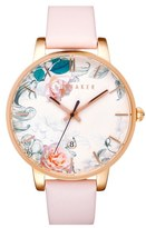 Ted Baker Women's Round Dial Leather Strap Watch, 40Mm