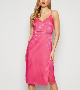 New Look Bright Floral Satin Jacquard Midi Dress