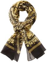 "Versace Baroque Animal Print Silk Long Scarf, 76"" x 27"""