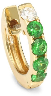 Robinson Pelham Orb 14K Yellow Gold, Tsavorite & Diamond Single Medium Huggie Earring