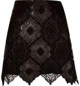 River Island Womens Black lace scalloped hem mini skirt