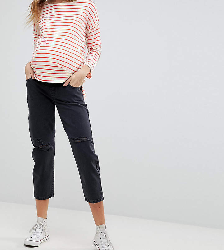 Asos Design Maternity Barrel Leg Boyfriend Jeans In Washed Black With Knee Rips With Over The Bump Waistband