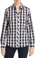 Foxcroft Mary Check Print Textured Blouse