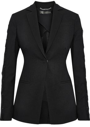 Versace Appliqued Chiffon-trimmed Wool-blend Blazer