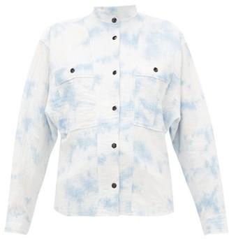 Etoile Isabel Marant Barney Mandarin-collar Cotton-blend Shirt - Womens - Blue White