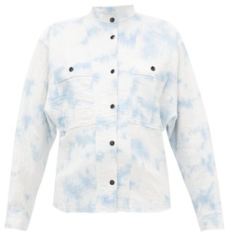 Etoile Isabel Marant Barney Mandarin-collar Cotton-blend Shirt - Womens - Blue White