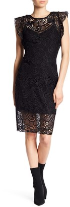 Hale Bob Flutter Sleeve Lace Dress