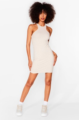 Nasty Gal Womens You'll Be Open Back Ribbed Mini Dress - Stone