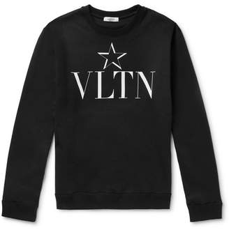 Valentino Slim-Fit Logo-Print Loopback Cotton-Blend Jersey Sweatshirt