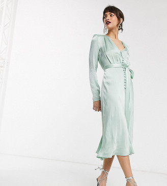 Ghost exclusive meryl satin button front midi dress