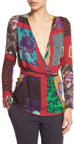 Etro Patchwork Wrap Silk Blouse, Red
