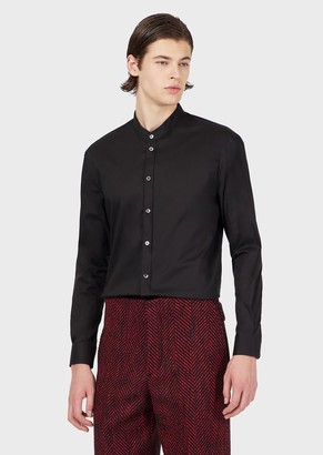 Emporio Armani Stretch Satin Shirt With Guru Collar