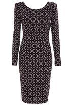 Quiz Black And Bronze Glitter Kaleidoscope Print Dress